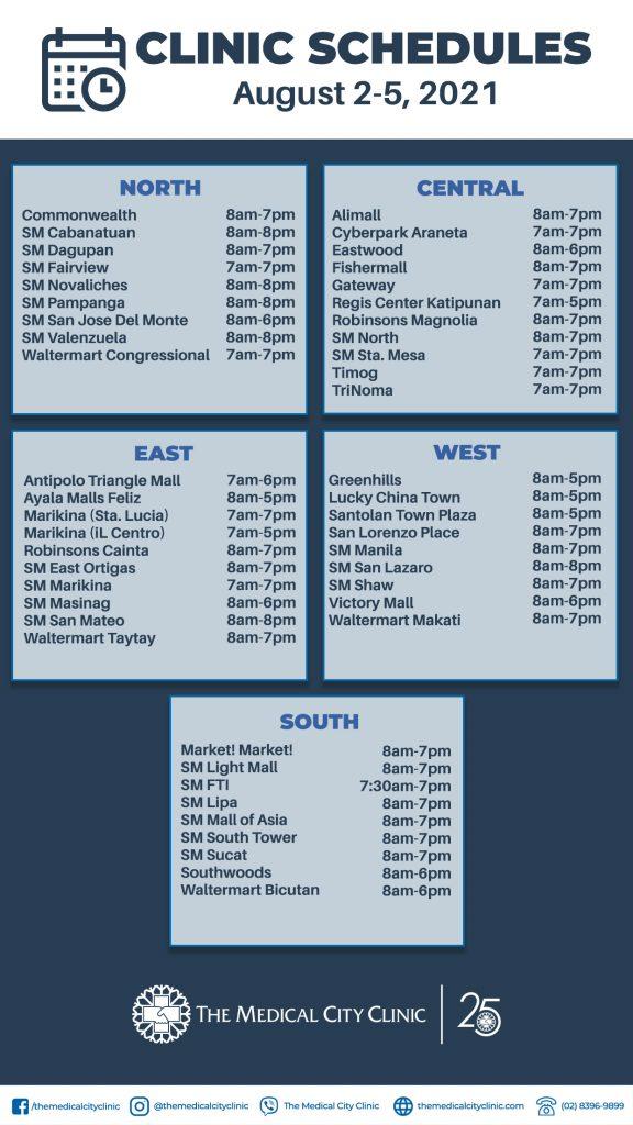 August 2-5 Schedule