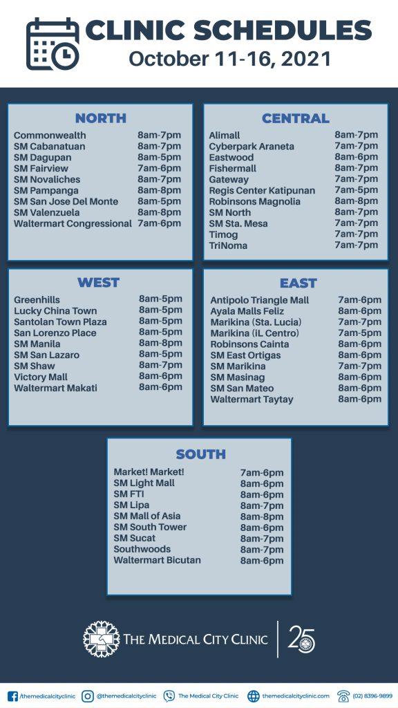October 11-16 Schedule